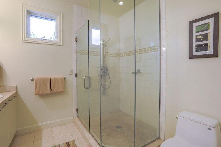 En suite upstairs bath has shower