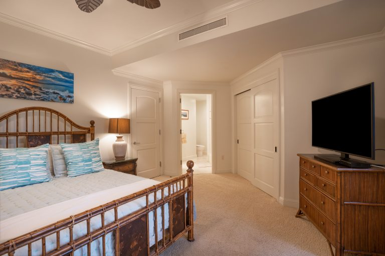 Second bedroom on lower level includes a large screen television