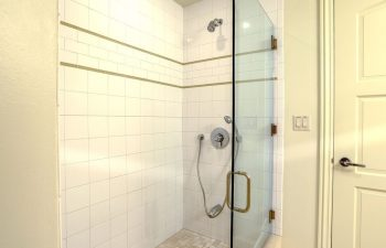 En Suite Bath in Second Bedroom with Shower on Lower Level