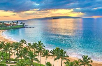 Wailea Beach With Molokini Crater And The Island Of Kaho'olawe In The Distance